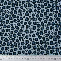 Musselin Stoff Double Gauze Leoparden Muster, jeansblau