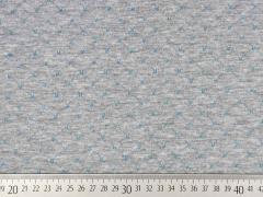 RESTSTÜCK 36 cm Gesteppter Jersey Doubleface, türkis grau melange
