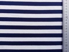 Viskose Jersey Streifen 1,3cm dunkelblau weiss