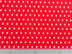 Jersey Sterne 1 cm, weiss auf rot