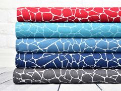 Baumwolle grafisches Muster Steine, dunkelblau