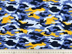 French Terry Sweat Camouflage, ocker blau