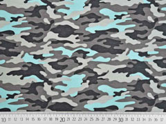 French Terry Sweat Camouflage, mint grau