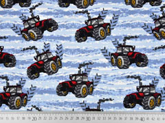 French Terry Sweat Traktor, rot hellblau