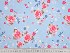 Jersey Blumen Blätter Asia Look, hellblau