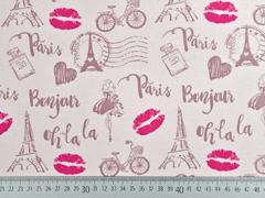 Baumwollstoff Paris Eiffelturm Kussmund, rosa