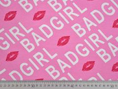 French Terry Sweat Bad Girl Schrift Kussmund, weiß rosa