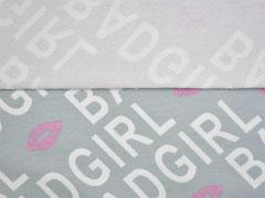 French Terry Sweat Bad Girl Schrift Kussmund, weiß grau