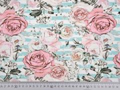 Jersey Digitaldruck Rosen Streifen, mint weiß