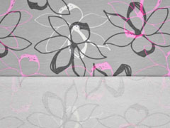 French Terry Sweat Blumen, rosa hellgrau