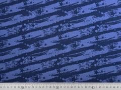 Sweatstoff Striche Sterne, jeansblau dunkelblau