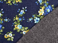 Sweat Jeanslook herbstliche Blumen angeraut, dunkelblau