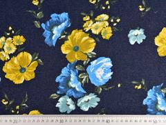 Sweat Jeanslook große herbstliche Blumen angeraut, dunkelblau