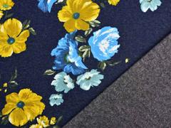 RESTSTÜCK 36 cm Sweat Jeanslook große herbstliche Blumen angeraut, dunkelblau