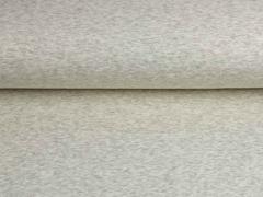 RESTSTÜCK 70 cm Alpenfleece Sweatstoff uni angeraut, creme hellgrau meliert