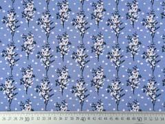 Viskosejersey Blumenzweige, schwarz weiß rauchblau