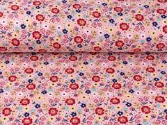 Sweatstoff Blumen Blümchen, rot dunkelblau altrosa
