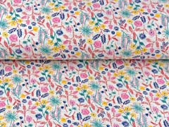 Sweatstoff Blumen Blätter Zweige, rosa terracotta creme grau meliert