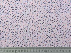 Jersey kleine Punkte Striche Drizzle, dunkelblau hellrosa