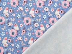 Sweatstoff French Terry Vögel Blumen Digitaldruck,jeansblau