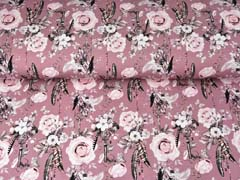 Jersey Rosen Traumfänger Digitaldruck, dunkles altrosa