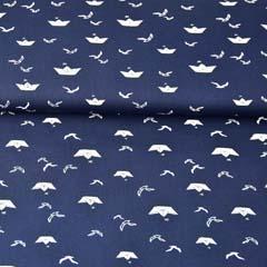 Baumwollstoff Papierschiffchen, weiß dunkelblau