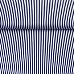 RESTSTÜCK 25 cm Baumwollstoff Streifen, dunkelblau weiß