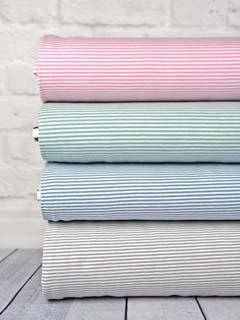 Jerseystoff Streifen 3 mm, rosa weiß