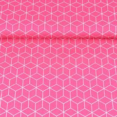 Baumwollstoff Würfelmuster, weiß pink