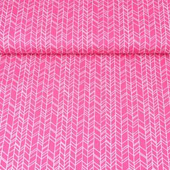 Baumwollstoff Pfeiloptik Fischgrät, weiß pink
