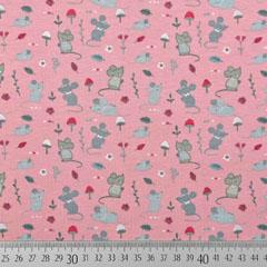 Jerseystoff kleine Mäuse Pilze, rot grau rosa