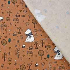 Sweatstoff Bär mit Schal Bäume Häuser, hellbraun