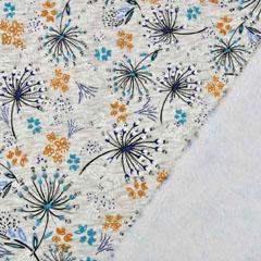 Sweatstoff Alpenfleece Blumen, ocker petrol grau meliert