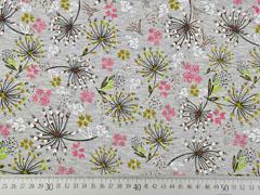 Sweatstoff Alpenfleece Blumen, altrosa senfgelb grau meliert