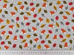 Sweatstoff Alpenfleece Füchse Blätter, grau meliert