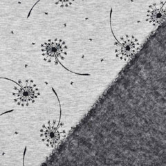 Sweatstoff Alpenfleece Pusteblume Glitzer, silber grau meliert
