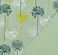 Softshell Stoff Jackenstoff Pusteblume, mintgrün