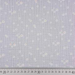 Musselin Stoff Gänseblümchen Double Gauze, gelb weiß grau