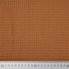 Waffel Frottee Waffelpiqué Stoff uni, caramel braun