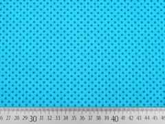 RESTSTÜCK 70 cm Baumwolle Punkte 2mm, petrol auf türkis