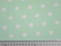 RESTSTÜCK 30 CM Baumwolle Sterne 2 cm, weiss auf mint