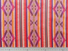 RESTSTÜCK 82 cm Jacquard Mexiko Ethnomuster Streifen Bordüren, rot