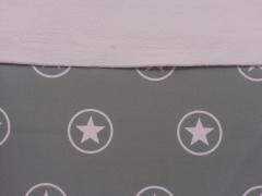 RESTSTÜCK 90 cm Softshell Jackenstoff Sterne im Kreis, grau/rosa