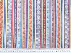 RESTSTÜCK 63 cm Mexiko Stoff Streifen Borten, blau bunt