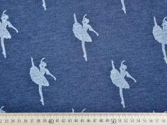 French Terry Glitzer Ballerina, jeansblau