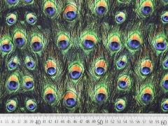 RESTSTÜCK 34 cm Jersey Digitaldruck Pfauen Federn, grün