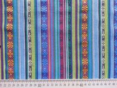 RESTSTÜCK 78 cm Mexiko Stoff Ethno Look Streifen & Borten, blau