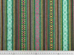 RESTSTÜCK 32 cm Mexiko Stoff Ethno Look Streifen & Borten, grün