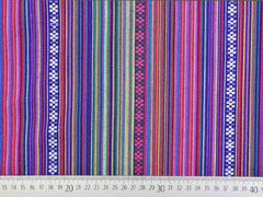 RESTSTÜCK 27 cm Mexiko Stoff Ethno Look Streifen & Borten, lila