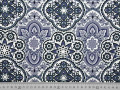 RESTSTÜCK 36 cm Baumwollsatin Stretch Ornamente, grau weiß